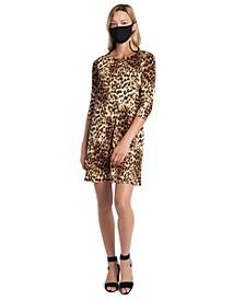 Leopard-Print Dress & Face Mask Necklace