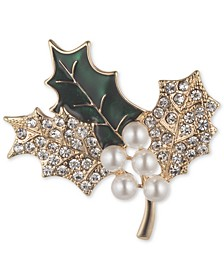 Gold-Tone Imitation Pearl & Crystal Holly Branch Pin