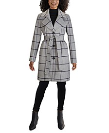 Plaid Single-Breasted Belted Walker Coat