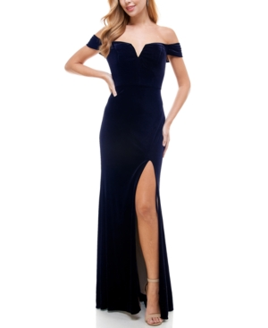 1950s History of Prom, Party, and Formal Dresses City Studios Juniors Off-The-Shoulder Velvet Gown $48.99 AT vintagedancer.com