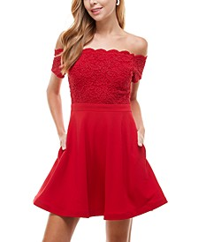 Juniors' Off-The-Shoulder Glitter-Lace Fit & Flare Dress