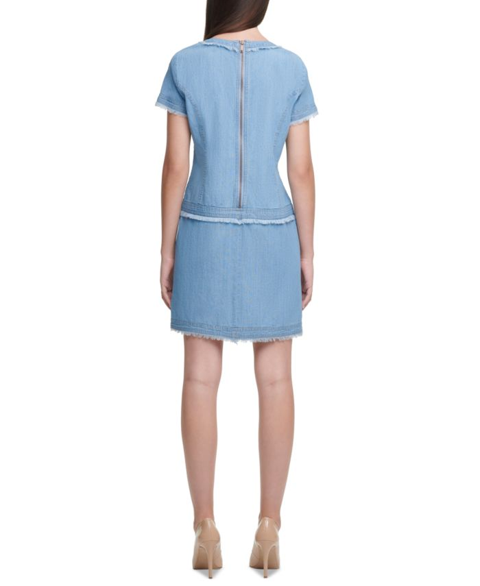 Karl Lagerfeld Paris Karl Lagerfeld Crewneck Denim Dress & Reviews - Dresses - Women - Macy's