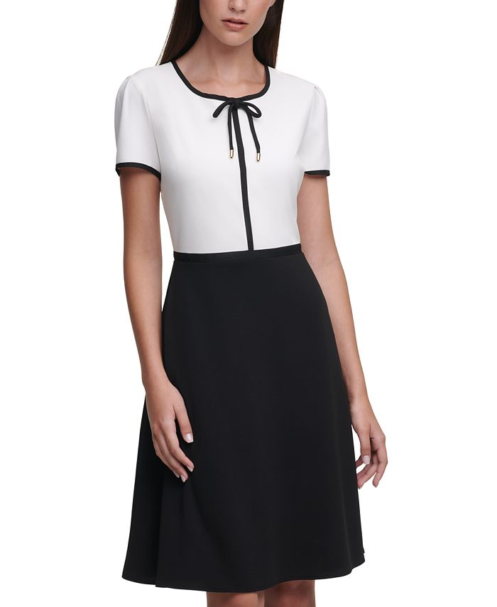 Karl Lagerfeld Paris - Crepe Two-Tone Dress