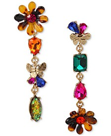 Gold-Tone Multicolor Crystal Flower Mismatch Linear Drop Earrings