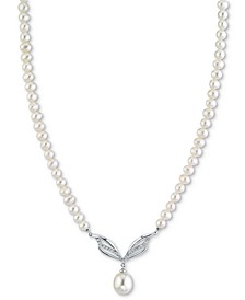 "Cultured White Freshwater Pearl (9mm) & Diamond (1/4 ct. t.w.) 16"" Pendant Necklace in 14k White Gold"