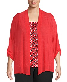 Plus Draped Cardigan