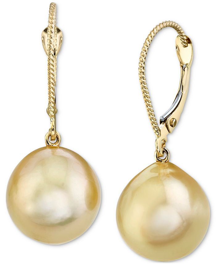Macy's - Cultured Golden South Sea Oval Pearl (11mm) Drop Earrings In 14k Gold