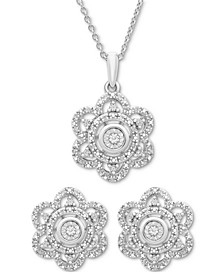 2-Pc. Diamond Scallop Pendant Necklace & Matching Stud Earrings (1/6 ct. t.w.) in Sterling Silver