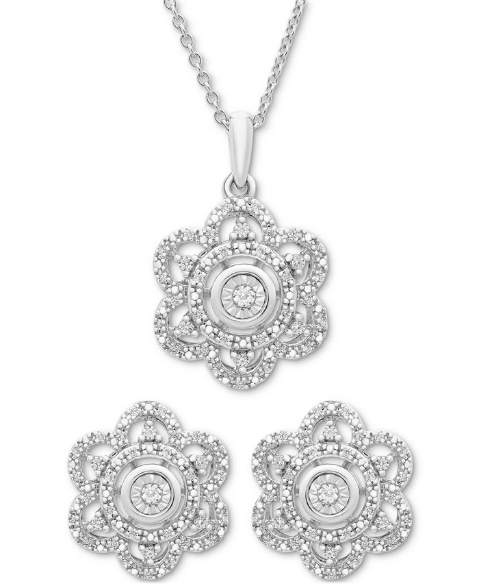 Macy's - 2-Pc. Diamond Scallop Pendant Necklace & Matching Stud Earrings in Sterling Silver