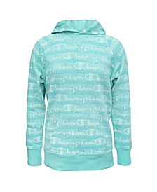Little Girls Aop Layered Script Fleece Hoodie