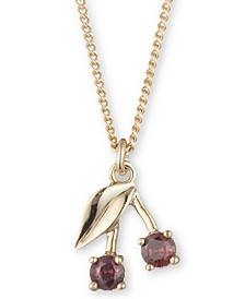 "Gold-Tone Crystal Cherry Pendant Necklace, 16"" + 3"" extender"