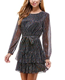Juniors' Metallic Ruffled Fit & Flare Dress