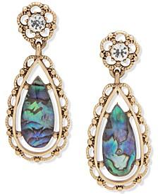 Gold-Tone Crystal & Stone Drop Earrings