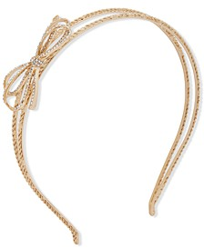 Gold-Tone Pavé Bow & Chain-Link Split Headband