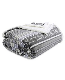 Fair Isle Printed Reversible Sherpa Full/Queen Blanket
