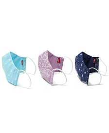 Adult Cotton Reusable Bandana-Print Reversible 3pk Face Masks