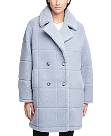 Double-Breasted Faux-Fur Teddy Coat