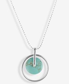 "Silver-Tone Turquoise-Look Stone Orbital Pendant Necklace, 17"" + 2"" extender"
