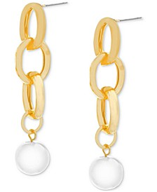 Gold-Tone Chain Link & Imitation Pearl Linear Drop Earrings