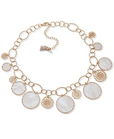 "Gold-Tone Filigree & Mother-of-Pearl Shaky Disc Statement Necklace, 16"" + 3"" extender"