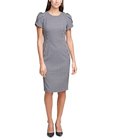 Tulip-Sleeve Plaid Sheath Dress