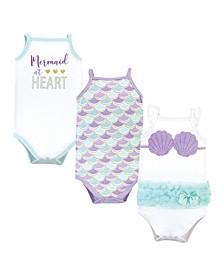 Baby Girls Mermaid Bodysuits, Pack of 3