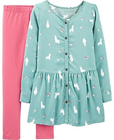 Little and Big Girls 2-Piece Llama Poplin Top and Legging Set
