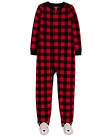 Little & Big Unisex 1-Pc. Buffalo-Check Reindeer Fleece Footie Pajamas
