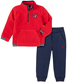 Little Boys Winter Fleece Zip Neck Pullover with Fleece Pant Set, 2 Piece