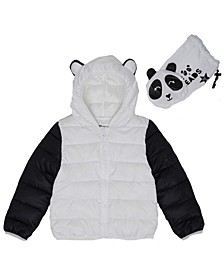 Toddler Girls Panda Packable Jacket with Match Back Bag