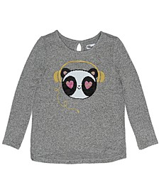 Toddler Girls Long Sleeve Flip Sequin Panda Snit Top