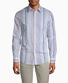 Stretch Cotton Multi-Stripe Button-Down Shirt