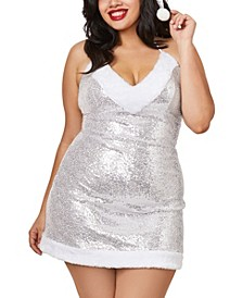 Women's Plus Size Santa Chemise with Sequin Mesh and Lining