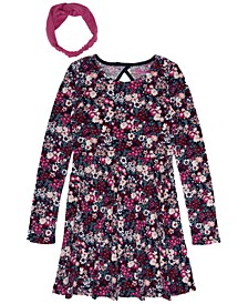 Big Girls Long Sleeve All Over Print Velour Dress With Headwrap