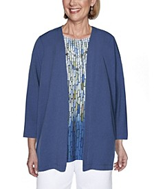 Women's Crinkle Woven Two-for-one Misses Top