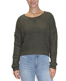 Juniors' Lace-Up Textured Sweater