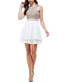 Juniors' Glitter Lace Fit & Flare Dress