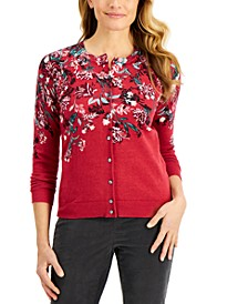 Falling Fleurs Button Cardigan, Created for Macy's
