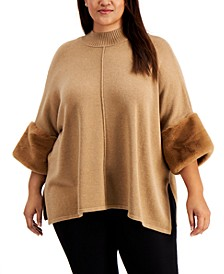 Plus Size Faux-Fur-Cuff Poncho Sweater, Created for Macy's