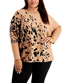 Plus Size Printed Drop-Shoulder Sweater, Created for Macy's