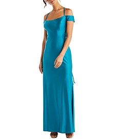 Juniors' Cold-Shoulder Lace-Up-Back Gown