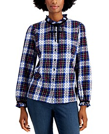 Cotton Plaid Dot-Print Blouse, Created for Macy's