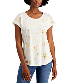 Style & Co Holiday Graphic-Print Top, Created for Macy's