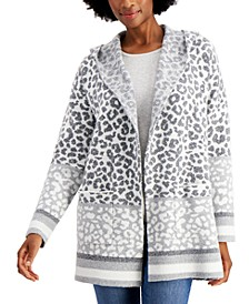 Hooded Leopard-Print Cardigan, Created for Macy's
