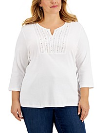 Plus Size Cotton Studded Split-Neck Top, Created for Macy's