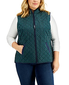 Plus Size Houndstooth-Print Puffer Vest, Created for Macy's