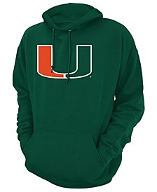 Retro Brand Men's Miami Hurricanes Screen-Print Big Logo Hooded Sweatshirt