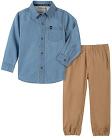 Jean Little Boys Woven Shirt and Jogger Pant 2 Piece Set