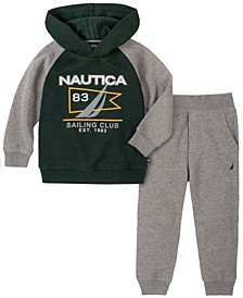 Little Boys Hooded Fleece Pullover with Fleece Pant Set, 2 Piece