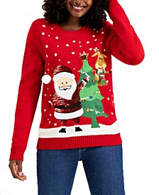 Petite Santa & Friends Sequin Pullover Sweater, Created for Macy's